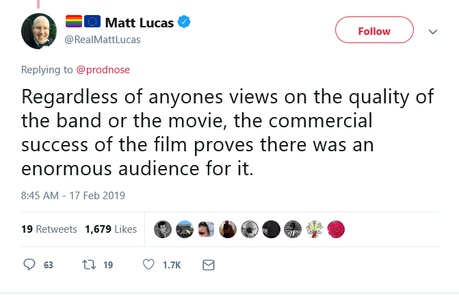 Screenshot_2019-02-20 🏳️🌈🇪🇺 Matt Lucas on Twitter Regardless of anyones views on the quality of the band or the movie,[...]